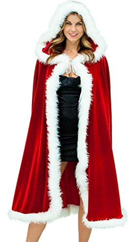 IF FEEL Womens Red Velvet Christmas Sexy Santa Dress Costume (One Size, 01Red)