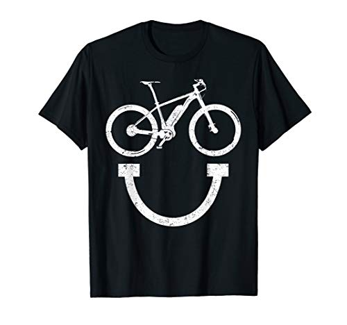 Funny E-Bike Smiley face TShirt Electric Bicycle fan gift