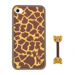 Euclid+ - Leopard with Giraffe Pattern ERO Style Hard Case Cover for Apple iPhone 4 4s 4th 4g 4Generation with Rilakkuma Style Cable Tie