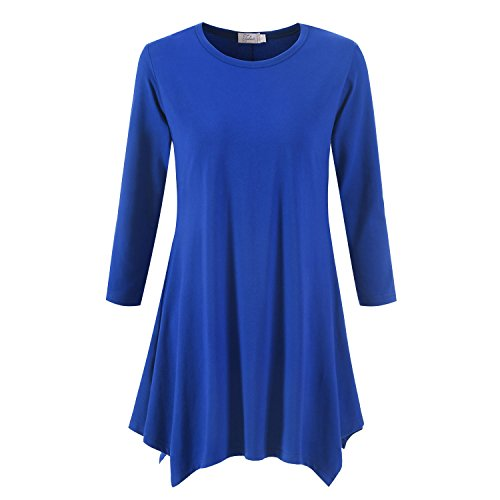 Topdress Women's Swing Tunic Tops 3/4 Sleeve Loose T-Shirt Dress Royal Blue M New