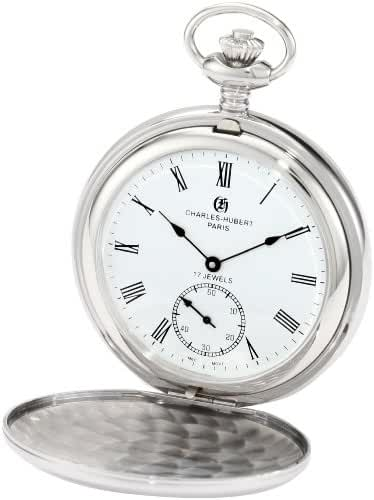 Charles-Hubert, Paris 3907-WR Premium Collection Stainless Steel Polished Finish Double Hunter Case Mechanical Pocket Watch