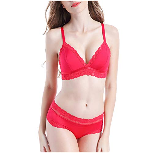 Womens Sexy Fashion No Trace Bra Sets Comfortable Ultrathin Lace Underwear Red