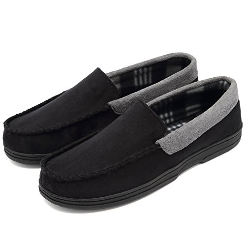 CIOR Fantiny Men's Casual Memory Foam Pile Lined Slip On Moccasin Flats Slippers Micro Suede Indoor Outdoor Rubber Sole