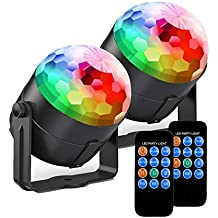[2 Pack] Tatufy Party Lights Disco Ball Dj Lights, 7 Colors Sound Activated Strobe Light with Remote Control Stage Lighting, Disco Lights for Birthday DJ Kids Xmas Club Karaoke Wedding