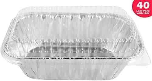 Pactogo Disposable 1 lb. Aluminum Foil Mini Loaf Pans with Clear Low Dome Lids (Pack of 40 Sets)