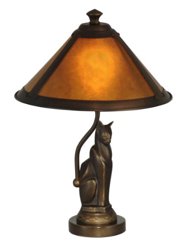 Dale Tiffany Antique Bronze Lamp and Mica Shade
