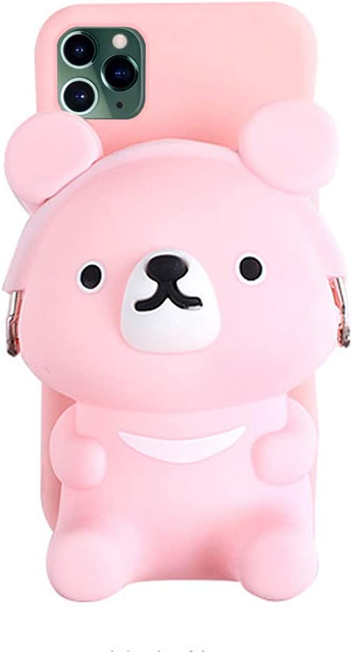 UnnFiko 3D Bear Pocket Case Compatible with iPhone Xs Max, Cute Cartoon Purse Stand Holder, Squishy Soft Silicone Protective Phone Case for Girls Women (iPhone Xs Max)