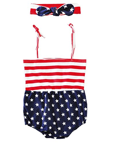 Newborn Toddler Baby Girls Boys Star Striped Love Romper Independence Day Clothes Jumpsuits (Stripe, 0-6 Months)