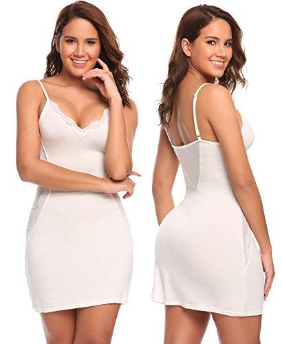 Avidlove Babydoll Lingerie for Women Cotton Skirt Full Slips Strappy Lace Chemise White - Chemise Lace Cotton