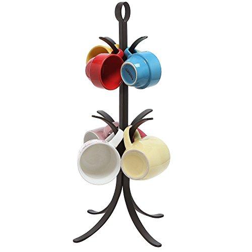 Freestanding Black Metal Mug Tree / 8 Hook Counter Top Coffee Cup Holder Organizer Rack - MyGift by MyGift