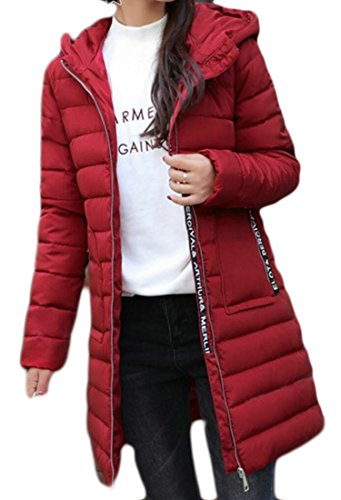 Gocgt Women's Long Sleeve Hooded Down Packable Coat Red