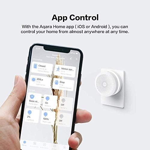 Aqara Motion Sensor plus Aqara Hub, Zigbee Connection, for Alarm System and Smart Home Automation, Broad Detection Range, Compatible with Apple HomeKit, Alexa 415a 2BJjH72L