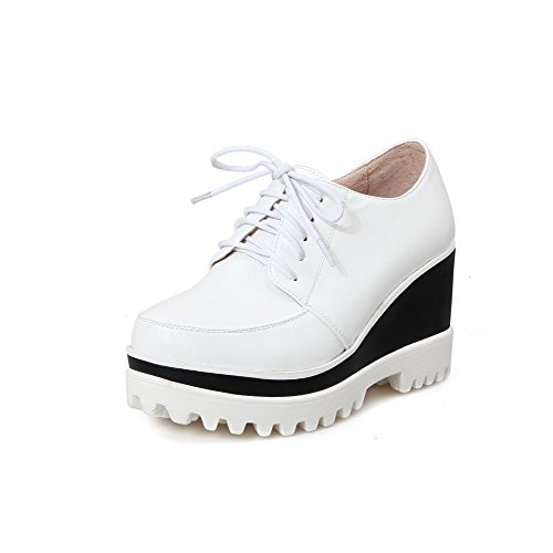 AmoonyFashion Womens Round Closed Toe High Heels Solid Zipper Pumps-Shoes White aam5N097db
