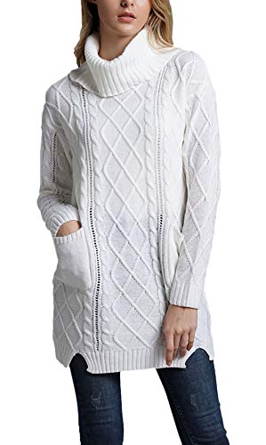a1cb38caee31 Élégant Mode Automne Longues Sweater Avec Haut Col Poches Manche Roulé Tricot  Casual Young Blanc Fashion Uni Manches Femme Pull Pullover Printemps  Bq5vwnx67