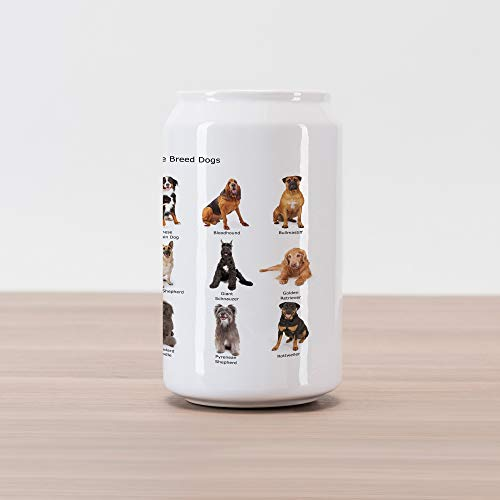 Lunarable Dog Lover Cola Can Shape Piggy Bank, Group of Common Large Breeds of Dogs Together Bullmastiff Alaskan Akita Bernese, Ceramic Cola Shaped Coin Box Money Bank for Cash Saving, Multicolor
