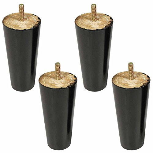 4pcs 5 inch Black Eucalyptus Wood Furniture Legs Replacement with Pre-drilled M8