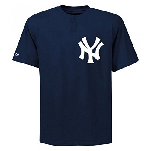 Button Replica (MAJESTIC TWO-BUTTON NEW YORK YANKEES REPLICA ADULT JERSEY 50/50 BLEND SZ L R10B1)