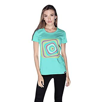 Creo Abstract 03 Retro T-Shirt For Women - L, Green