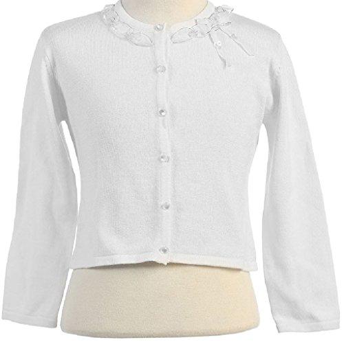 Little Girls Adorable Cute Soft Long Sleeve Ribbon Ruffle Design Cardigan White Size (Hairstyles First Communion)