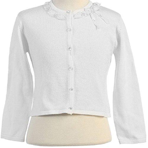 Little Girls Adorable Cute Soft Long Sleeve Ribbon Ruffle Design Cardigan White Size 2 (Ruffle Neck Cardigan)