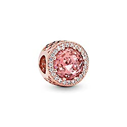 Sparkling Rose with Pink Crystal Charm