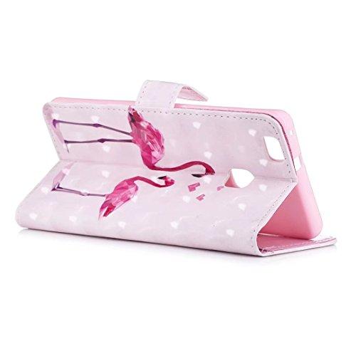 COWX Huawei P9 Lite Hülle, PU Leder Hülle für Huawei P9 Lite Tasche schutzhülle Flamingo