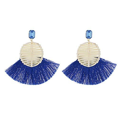 56a4492ae Handmade Tassel Earrings Bohemian Style Light Cute Dangle Rattan Earrings  Ladies Jewelry (Blue) from
