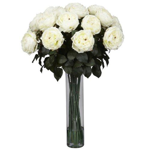 Artificial Rose Arrangement (Nearly Natural 1219-WH Fancy Rose Silk Flower Arrangement, White)