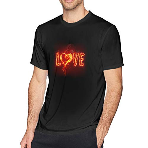 Men's Big Tall T-Shirt Printed Fire Love Crewneck Athletic Short Sleeve for Youth Adult S-6XL Black ()