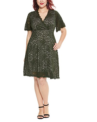 Women's Plus Size Flutter Sleeve V-Neckline Lace Flared Cocktail Party Dress Green 24W by Daci (Image #5)