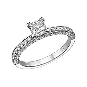 IGI Certified 14k white-gold Princess Cut Diamond Engagement Ring (0.60 cttw, F Color, SI1 Clarity) - size 4