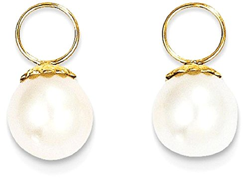 Cultured Freshwater Pearl Enhancer (ICE CARATS 14k Yellow Gold Freshwater Cultured Pearl Hoop Enhancers Drop Dangle Fine Jewelry Gift Set For Women Heart)