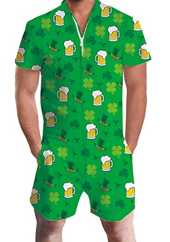 RAISEVERN Green Clover Shamrock St. Patrick's Day Beer Hat Fruit Romper 3D Print Funny Men's Rompers Zip Up Jumpsuit Shorts Summer Party One Piece Cargo Pants for Male -