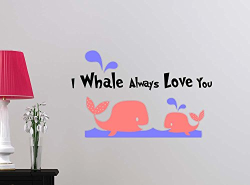 Wall Sticker #2 I whale always love you repositionable and removeble whales cute playroom sticker nursery vinyl saying lettering wall art inspirational sign wall quote decor by Simple Expressions Arts
