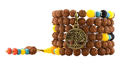 Handmade Tibetan Elastic String 8mm Rudraksha Purple Goldstone 108 Prayer Beads Yoga Meditation Mala Wrap Bracelet with Removable Charms (Brass Tone Tree of Life)