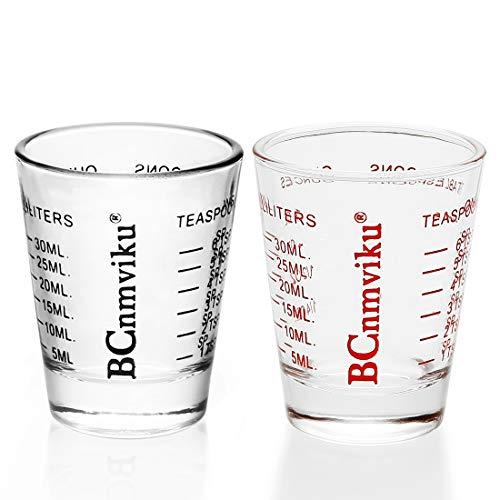 Shot Glasses Measuring Cup Espresso Measure Shot Glass 20-Incremental Measurements Multi-Purpose Liquid and Dry Measuring Shot Glass (Black and Red)]()