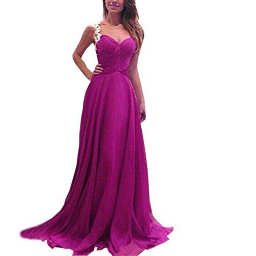 Women's Button up Split Floral Print Flowy Party Maxi Dress, V Neck Party Evening Dress Elegant Maxi Dress (Purple, M) by HTHJSCO