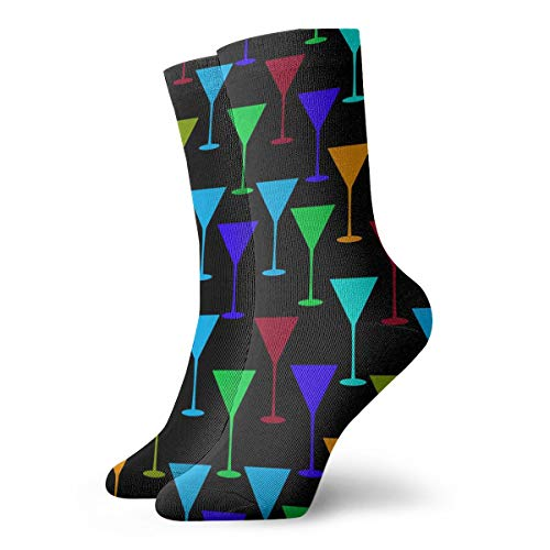 SARA NELL Novelty Funny Crazy Crew Sock Martini Glass Pattern Printed Sport Athletic Socks 30cm Long Personalized Gift Socks]()
