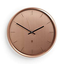 """Umbra Meta Wall Clock, Nickel Quiet, Non Ticking and Silent, Easy to Read Indoor Round Wall Clocks With Solid Metal Frame - Measures 12 ½'' by 1 ½""""- Great for Home, Office, Kitchen, Bedroom"""
