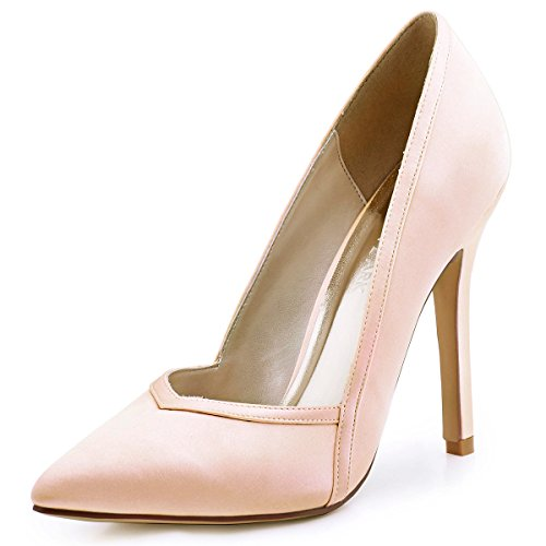 ElegantPark Womens Pointed Toe High Heel V Cut Slip On Satin Dress Pumps Blush