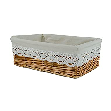 RURALITY Rectangular Wicker Woven Storage Basket with Liner,Small