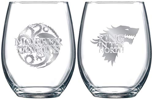 Game of Thrones Collectible Wine Glass Set (Mother of Dragons/King In The North) by Game of Thrones