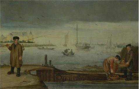 [The Perfect Effect Canvas Of Oil Painting 'Arent Arentsz - Fishermen Near Muiden Castle,about 1630' ,size: 30x47 Inch / 76x119 Cm ,this Cheap But High Quality Art Decorative Art Decorative Prints On Canvas Is Fit For Home Theater Decoration And Home Artwork And] (Audreys Costume Castle)