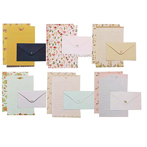 QingLanJian 48 Cute Writing Paper Letter Stationary Set With 24 Envelopes by QingLanJian