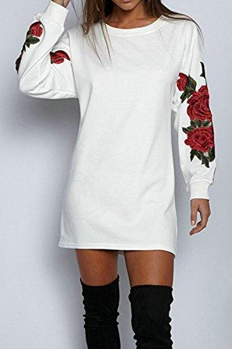 Casual A Lunghe MiniAbiti Primavera White Le Maniche Donne Vestono Autunno Embroided 4R5Aj3Lq