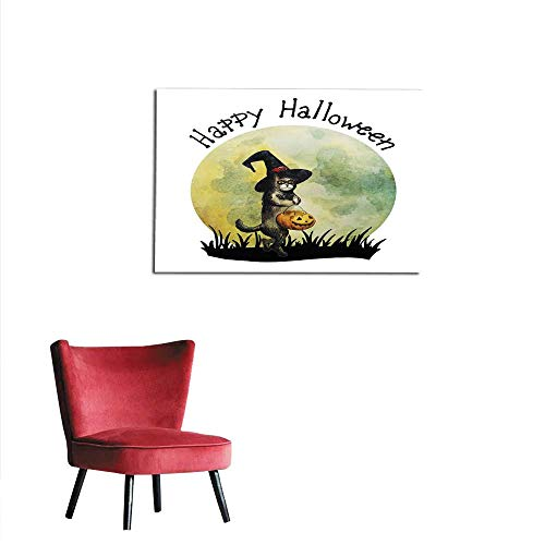 homehot Art Decor Decals Stickers Halloween Card Happy cat with Witch hat and Pumpkin Hand Drawn Watercolor Illustration Mural 48