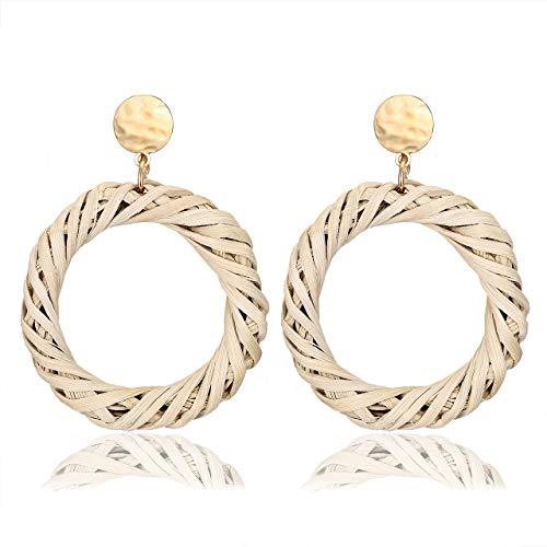 (Seni Rattan Straw Dangle Earrings Boho Wicker Woven Handmade Earrings Lightweight Geometric Drop Stud Earrings for Women Girls (Circle Hoop))