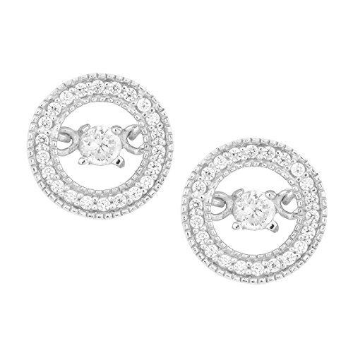 Sterling Silver Dancing Diamond CZ Circle Stud Earrings by Beaux Bijoux