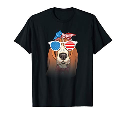 Basset Hound Dog Happy 4th of July Tshirt Dog lover Gifts