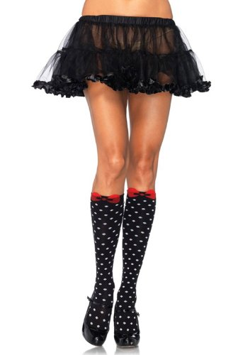 (LA5599 Acrylic Polka Dot Knee Highs With Woven Bow Accent)